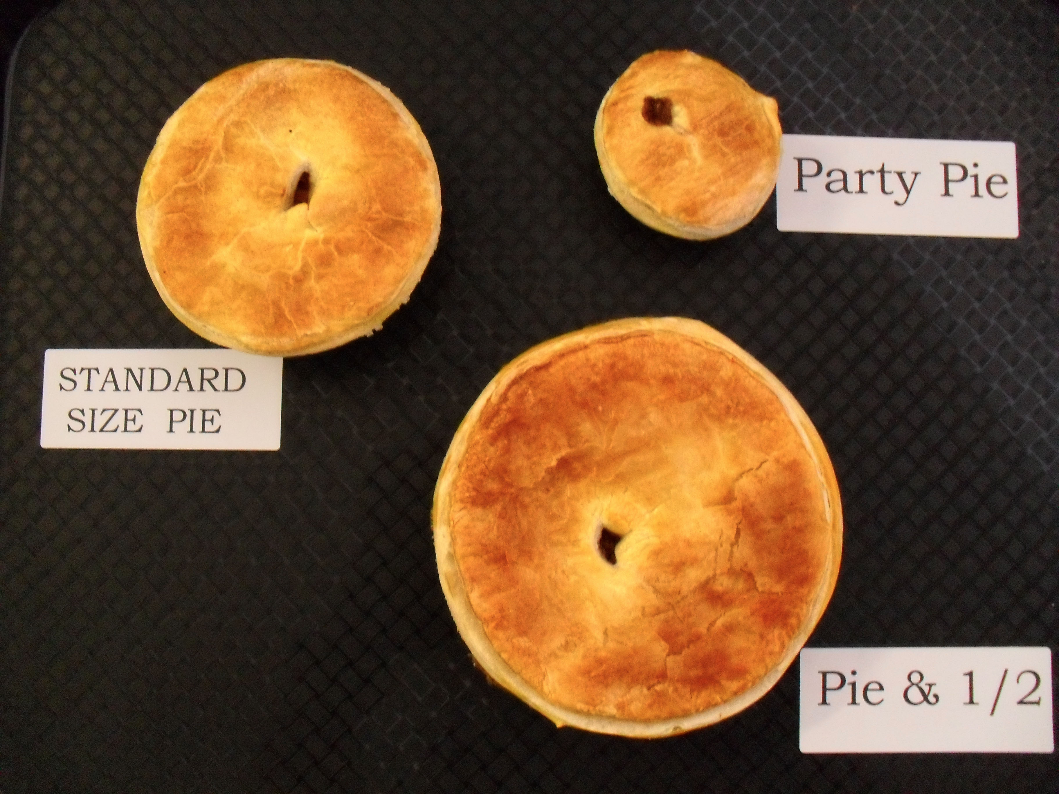 Pies- All flavors in standard size except for plain pie where we have Party (small) Standard (medium) Pie u00261/2 (Large) and Family (Extra Large) & Our Food u0026 Beverages - Jerilderie Bakery